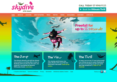 Website design and build for Skydive Airlie Beach