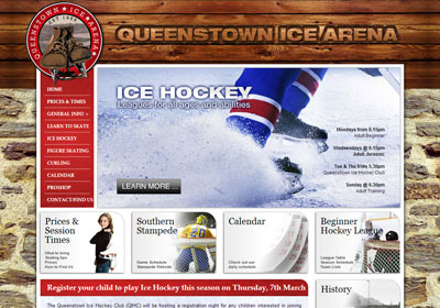 Website design and build for the ice rink in Queenstown, NZ